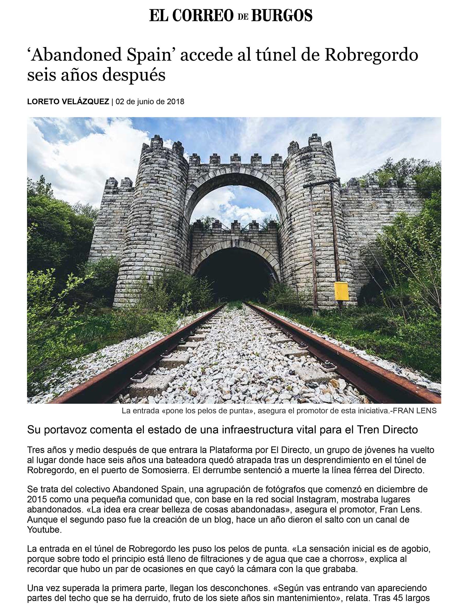 Entrevista Abandoned Spain para El Correo De Burgos