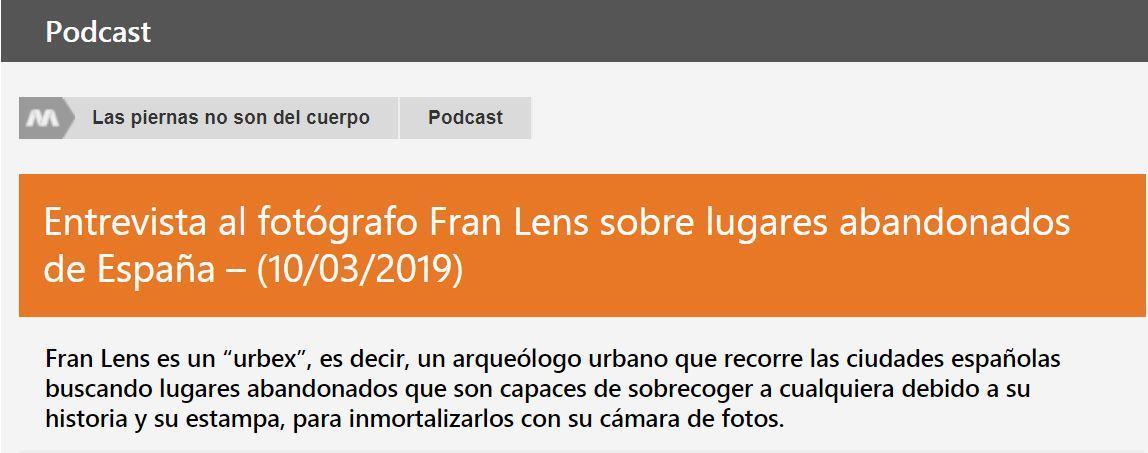 Entrevista radio Melodia FM para Abandoned spain