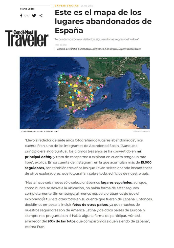 Entrevista de Abandoned Spain para Traveler