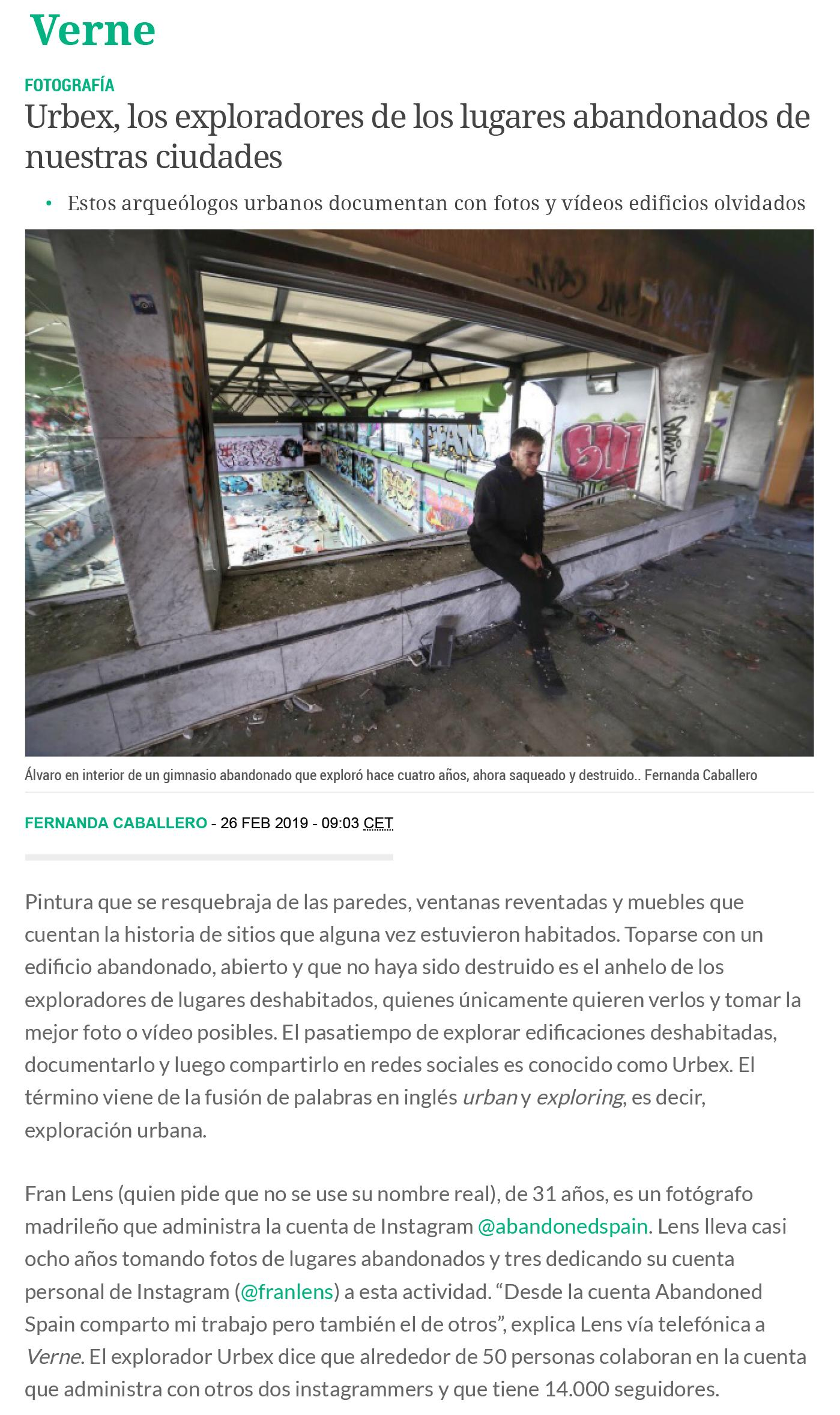 Entrevista de Abandoned Spain para Verne